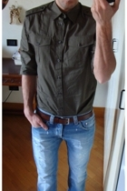 H&M shirt - unknown belt - dondup jeans - Converse shoes
