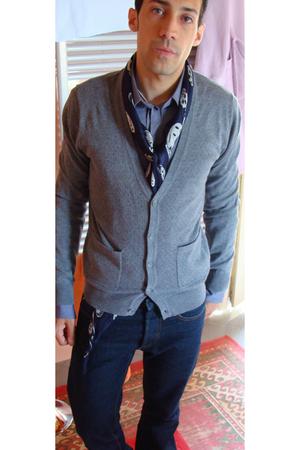 Alexander McQueen scarf - Dolce & Gabbana shirt - H&M sweater - dior homme jeans
