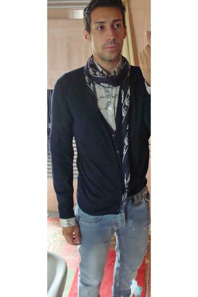 blue McQueen scarf - blue kris van assche jeans - blue Zara sweater