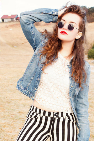 striped H&M jeans - jeans armani jacket - lace flower H&M top