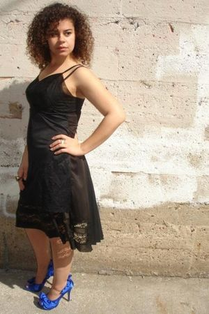 Reclaimed dress - blue shoes - silver Safia accessories