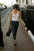 Primark pants - Miss Selfridge bag - Dorothy Perkins heels - white H&M vest