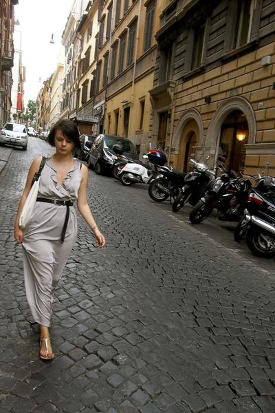 studded River Island sandals - H&M dress - white leather Zara bag