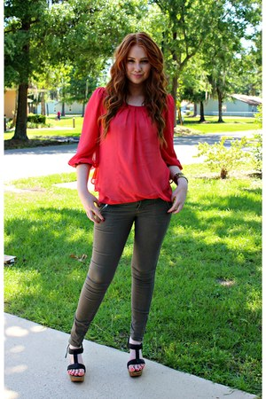 army green Old Navy pants - coral TJ Maxx top - black JCPenney wedges