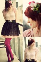 bubble gum modcloth dress - hot pink we love colours tights - camel lulus flats