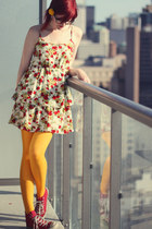 red Converse shoes - ruby red modcloth dress - gold we love colours tights