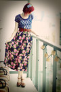 Navy-lace-forever21-shirt-hot-pink-silk-goodwill-skirt