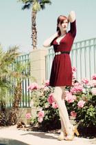 camel Lulus shoes - crimson modcloth dress