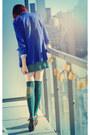 Teal-asos-socks-blue-h-m-blazer-chartreuse-h-m-top