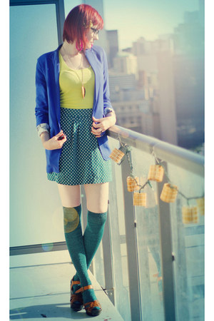 teal asos socks - blue H&amp;M blazer - chartreuse H&amp;M top