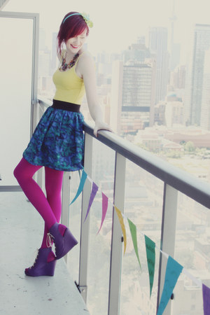 blue modcloth skirt - hot pink We Love Colorsors tights - purple modcloth wedges