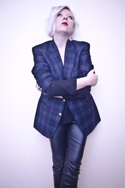 navy second hand jacket - black Zara blouse - black H&M pants