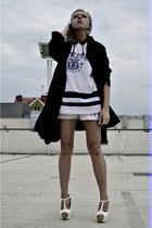 black Secondhand coat - off white deezee heels