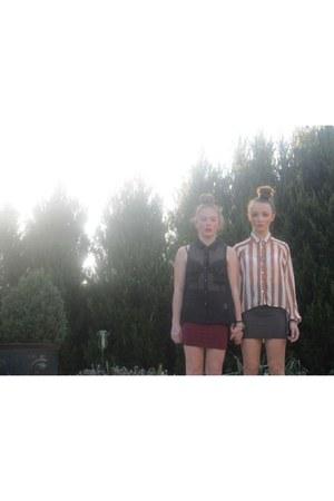 stripy Glassons blouse - black Doll blouse - blue American Apparel shirt