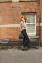 black creepers TUK shoes - light pink cropped H&M sweater - black chain Chanel b