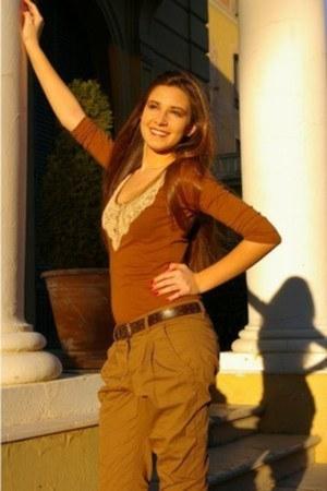 brown Stradivarius blouse - camel Bershka pants - dark brown Bershka belt