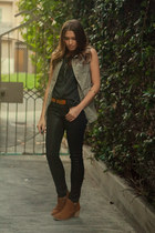 Chinese Laundry boots - Zara jeans - Forever 21 top - H&M vest - Target belt