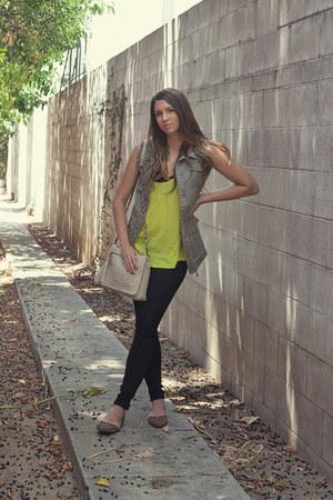 H&M vest - DSW bag - Zara top - asos bra - H&M pants - Jessica Simpson flats