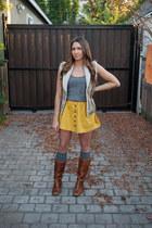 Forever 21 skirt - Steve Madden boots - Urban Outfitters socks
