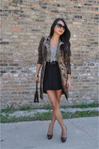 leopard print Zara jacket - patent leather Chanel bag - pleated skirt BCBG skirt