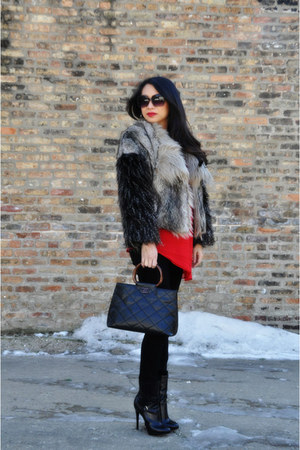 faux fur Zara coat - B by Brian Atwood boots - Citzens jeans - Chanel bag
