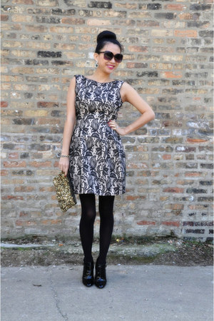 tulip dress Zara dress - patent leather Jimmy Choo boots - sequins Zara bag
