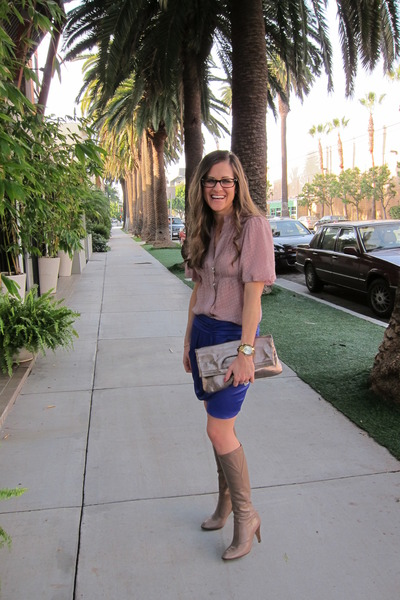 BCBG blouse - vintage boots - Nordstrom bag - Michael Kors watch