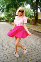 hot pink circle skirt - blouse - acacia pony Senso wedges