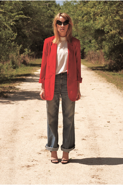 bright red blazer - wide leg H&M jeans - alien eye sunglasses