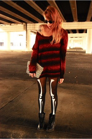 skeletor wal-mart tights - Urban Outfitters sweater - thrifted bag