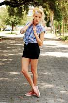 blouse - shoes - yellow lace scarf - black cut off shorts