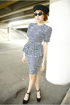 striped sailing dress - sailors hat - alien sunglasses