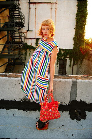 vintage striped dress - bag - snick Jeffrey Campbell wedges