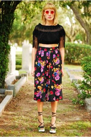 floral gaucho pants - blouse