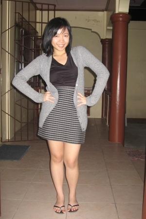 Plains and Prints top - Zara sweater - black skirt - vnc shoes