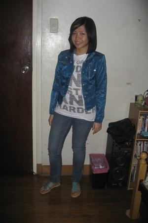 white Zara shirt - blue mpc jacket - Lee pants - blue HDY shoes