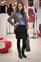 H&M bag - Zara boots - pull&bear shirt - Stradivarius skirt - H&M cardigan