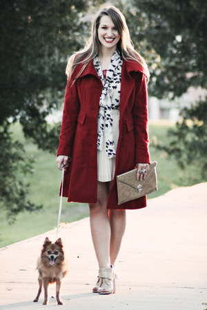 ruby red Express coat - black Ark & Co top - nude wish skirt