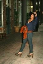 f21 jacket - Arc & Co top - Jessica Simpson heels