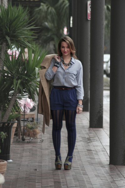 striped cynthia rowley tights - silk Lush shorts - silk Express blouse - Jessica
