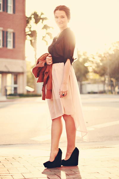 Zara skirt - Theyskens Theory wedges - Ark & Co top - f21 belt