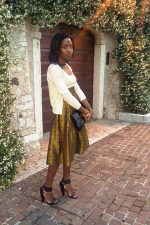 ysl vintage skirt - eggshell Prada cardigan - Givenchy sandals