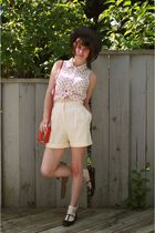 black Urban Outfitters shoes - black vintage hat - yellow vintage shorts