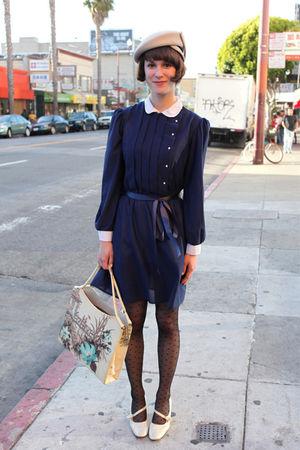 beige vintage hat - gold vintage shoes - blue vintage dress - beige vintage bag