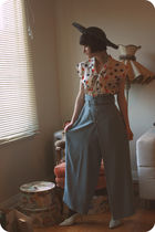 black vintage hat - white vintage blouse - blue vintage pants - black Forever 21