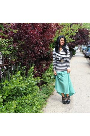 aquamarine Forever 21 skirt - black Jeffrey Campbell shoes - white H&M sweater