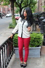 Ivory-h-m-blouse-ruby-red-unknown-pants-black-aldo-pumps