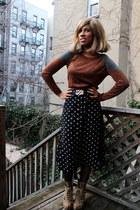 black polka dot Forever 21 skirt - dark khaki Steve Madden boots