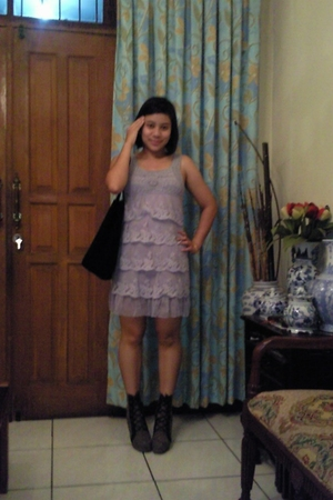 brandless dress - rumahsepatubulan boots - Louis Vuitton accessories - Berlink a