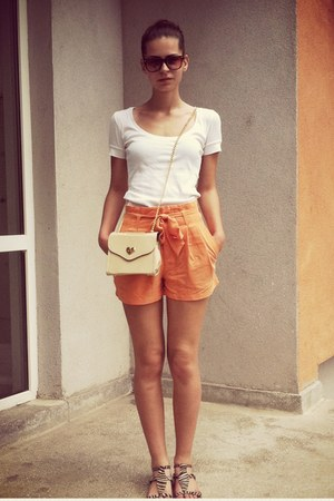 light orange H&M shorts - beige bag - white top - white sandals